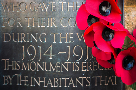 grinstead: Poppies on the War Memorial  on Remembrance Sunday in East Grinstead