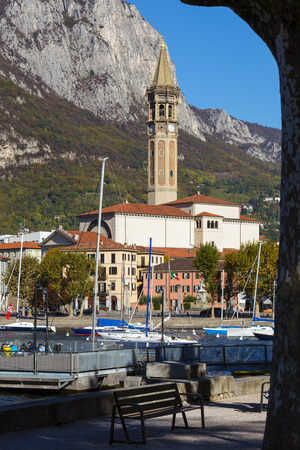 pink cruiser: View of Lecco on the Southern Shore of Lake Como Editorial