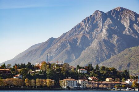 View of a Small Community opposite Lecco in Italy Stock Photo
