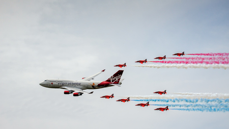 Virgin Atlantic Boeing 747-400 and Red Arrows Aerial Display at Biggin Hill Airshow Editorial