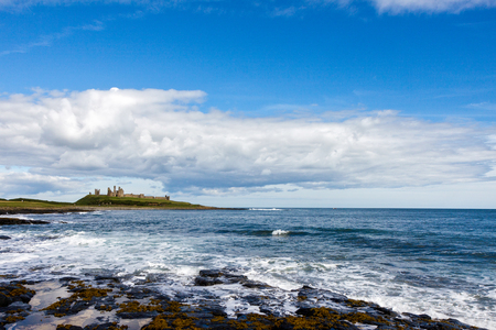 View of Dunstanburgh Castle at Craster Northumberland Editorial