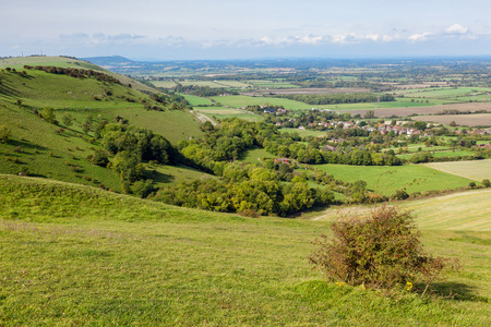 Green Undulating Hills of the  Sussex Countryside Stock Photo