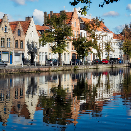 View along a Canal in Bruges Stock Photo