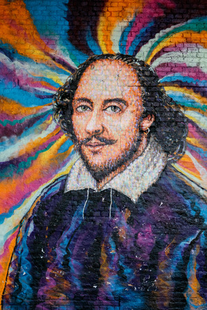 Painting of Shakespeare on a Wall in London Editorial