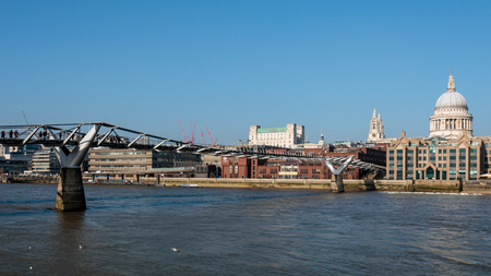 colonnade: Millennium Bridge and St Pauls Cathedral