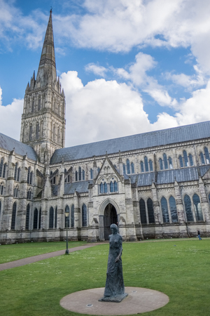 Statue of a Woman outside Salisbury Cathedral Stock Photo