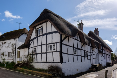 View of a Thatched cottage in Micheldever Hampshire Editorial