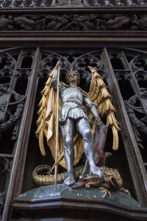 Gold and Silver Wooden Statue of St Geoge in Salisbury Cathedral Editorial