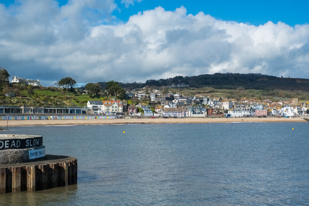 View of Lyme Regis from the Harbour Entrance