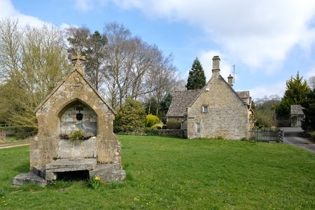 Picturesque Wyck Rissington Village in the Cotswolds Stock Photo