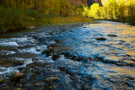 Evening Sunshine Falling on the Virgin River Stock Photo