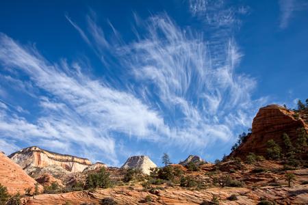 jet stream: Zion National Park landscape Foto de archivo