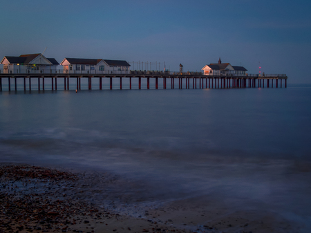 southwold: Nighttime at Southwold Pier Stock Photo