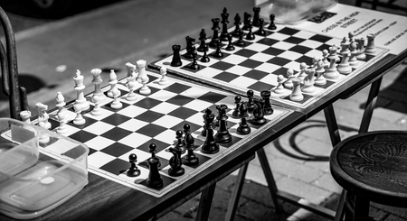 grinstead: EAST GRINSTEAD, WEST SUSSEXUK - JUNE 17 : Chess Boards in the Street Ready for a Game in East Grinstead on June 17, 2017 Editorial
