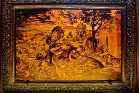BERGAMO, LOMBARDYITALY - JUNE 25 : Wooden Panel in the Basilica di Santa Maria Maggiore in Bergamo on June 25, 2017