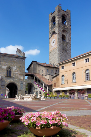 storey: BERGAMO, LOMBARDYITALY - JUNE 26 : View of Piazza Vecchia in Bergamo on June 26, 2017. Unidentified people