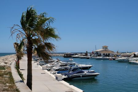 CABO PINO, ANDALUCIASPAIN - JULY 2 : Boats in the Marina at Cabo Pino  Andalucía Spain on July 2, 2017. Unidentified people.