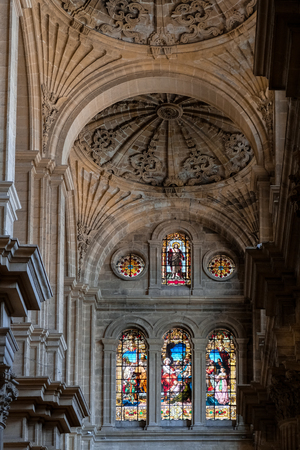 incarnation: MALAGA, ANDALUCIASPAIN - JULY 5 : Interior View of the Cathedral of the Incarnation in Malaga Costa del Sol Spain on July 5, 2017 Editorial