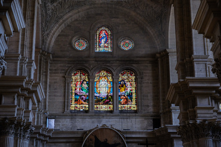 MALAGA, ANDALUCIASPAIN - JULY 5 : Interior View of the Cathedral of the Incarnation in Malaga Costa del Sol Spain on July 5, 2017 Editorial