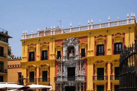 MALAGA, ANDALUCIASPAIN - JULY 5 : Baroque Bishops Palace designed by Antonio Ramos in the 18th Century in the Plaza de Obispo Malaga Costa del Sol Spain on July 5, 2017