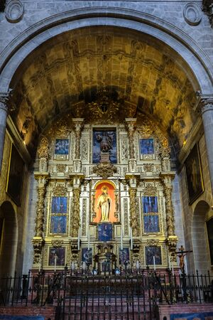 ceiling: MALAGA, ANDALUCIASPAIN - JULY 5 : Interior View of the Cathedral of the Incarnation in Malaga Costa del Sol Spain on July 5, 2017 Editorial