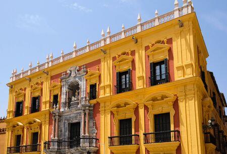 episcopal: MALAGA, ANDALUCIASPAIN - JULY 5 : Baroque Bishops Palace designed by Antonio Ramos in the 18th Century in the Plaza de Obispo Malaga Costa del Sol Spain on July 5, 2017