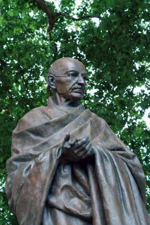 LONDON - JULY 30 : Statue of Mahatma Ghandi in Parliament Square London on July 30, 2017 Editorial
