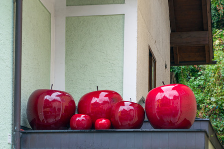 Gigantic Red Apples on a Shop in St Wolfgang Stock Photo