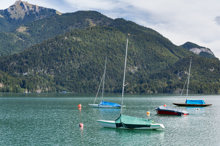 Yachts Moored in Lake Wolfgang at St. Gilgen