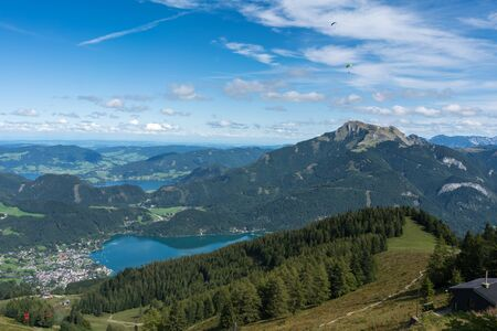 View of the Countryside from Zwölferhorn Mountain Stock Photo