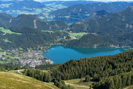 View from Zwölferhorn Mountain down to St Gilgen