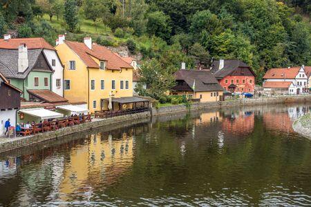 Colourful Buildings along the Vlatava River in Krumlov