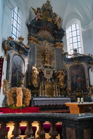 Altar in the Catholic Church in Attersee Editorial