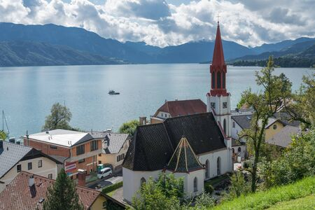 View of the Evangelical Parish Church in Attersee