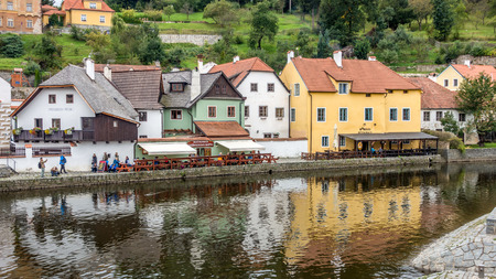 Colourful Buildings along the Vlatava River in Krumlov