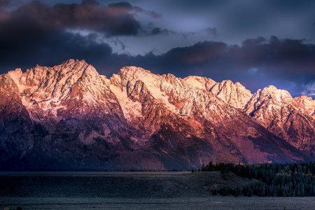 Sunrise at the Grand Tetons Stock Photo