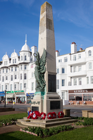 BEXHILL-ON-SEA, EAST SUSSEXUK - JANUARY 11 : View of the War Memorial in Bexhill-on-Sea East Sussex on January 11, 2009. Unidentified people Sajtókép