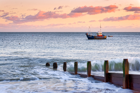 SELSEY BILL, WEST SUSSEXUK - JANUARY 1 : Fising Boat Moored off Selsey Bill in West Sussex on January 1, 2013 Stock Photo