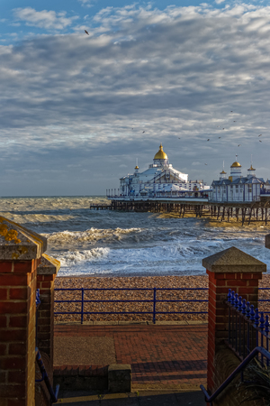 EASTBOURNE, EAST SUSSEXUK - JANUARY 7 : View of Eastbourne Pier in East Sussex on January 7, 2018