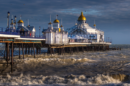EASTBOURNE, EAST SUSSEXUK - JANUARY 7 : View of Eastbourne Pier in East Sussex on January 7, 2018. Unidentified people
