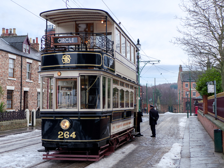 STANLEY, COUNTY DURHAMUK - JANUARY 20 : Old Tram at the North of England Open Air Museum in Stanley, County Durham on January 20, 2018. Unidentified people Editorial