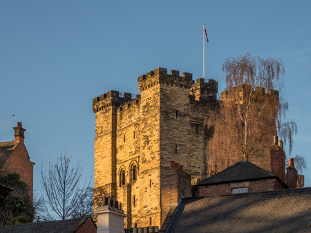 NEWCASTLE UPON TYNE, TYNE AND WEARUK - JANUARY 20 : Sunset over the Castle in Newcastle upon Tyne, Tyne and Wear on January 20, 2018 Editorial