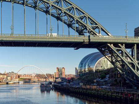 NEWCASTLE UPON TYNE, TYNE AND WEARUK - JANUARY 20 : View of the Tyne  Bridge in Newcastle upon Tyne, Tyne and Wear on January 20, 2018