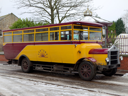STANLEY, COUNTY DURHAMUK - JANUARY 20 : Old Bus at the North of England Open Air Museum in Stanley, County Durham on January 20, 2018 Editorial