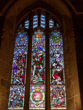 NEWCASTLE UPON TYNE, TYNE AND WEARUK - JANUARY 20 : Stained Glass Window in the Cathedral in Newcastle upon Tyne, Tyne and Wear on January 20, 2018