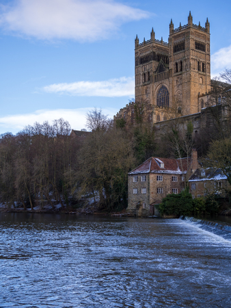 DURHAM, COUNTY DURHAMUK - JANUARY 19 : View along the River Wear to the Cathedral in Durham, County Durham on January 19, 2018
