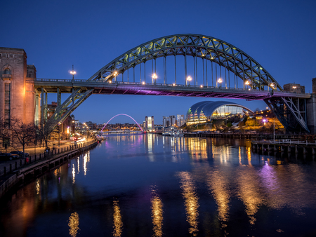 NEWCASTLE UPON TYNE, TYNE AND WEARUK - JANUARY 20 : View of the Tyne and Millennium Bridges at dusk in Newcastle upon Tyne, Tyne and Wear on January 20, 2018 Editorial