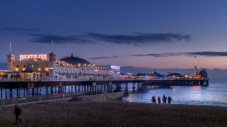 BRIGHTON, EAST SUSSEX/UK - JANUARY 26 : View of Brighton Pier in Brighton East Sussex on January 26, 2018. Unidentified people.