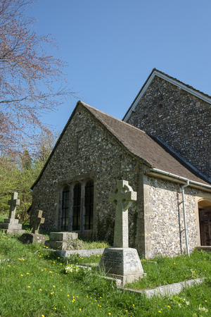 BRAMBER, WEST SUSSEXUK - APRIL 20 : Exterior View of St Nicholas Church in Bramber West Sussex UK on April 20, 2018