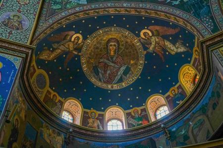 SIBIU, TRANSYLVANIA/ROMANIA - SEPTEMBER 16 : Interior view of the Holy Trinity Cathedral in Sibiu Transylvania Romania on September 16, 2018 Editorial
